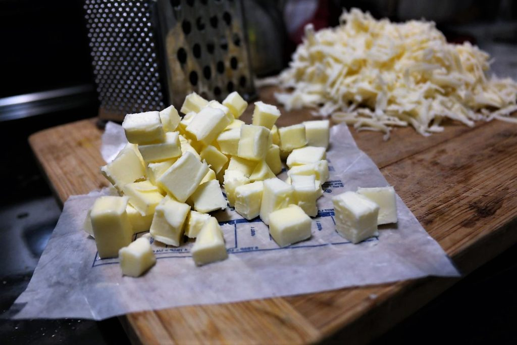 cubed-butter-shredded-cheese